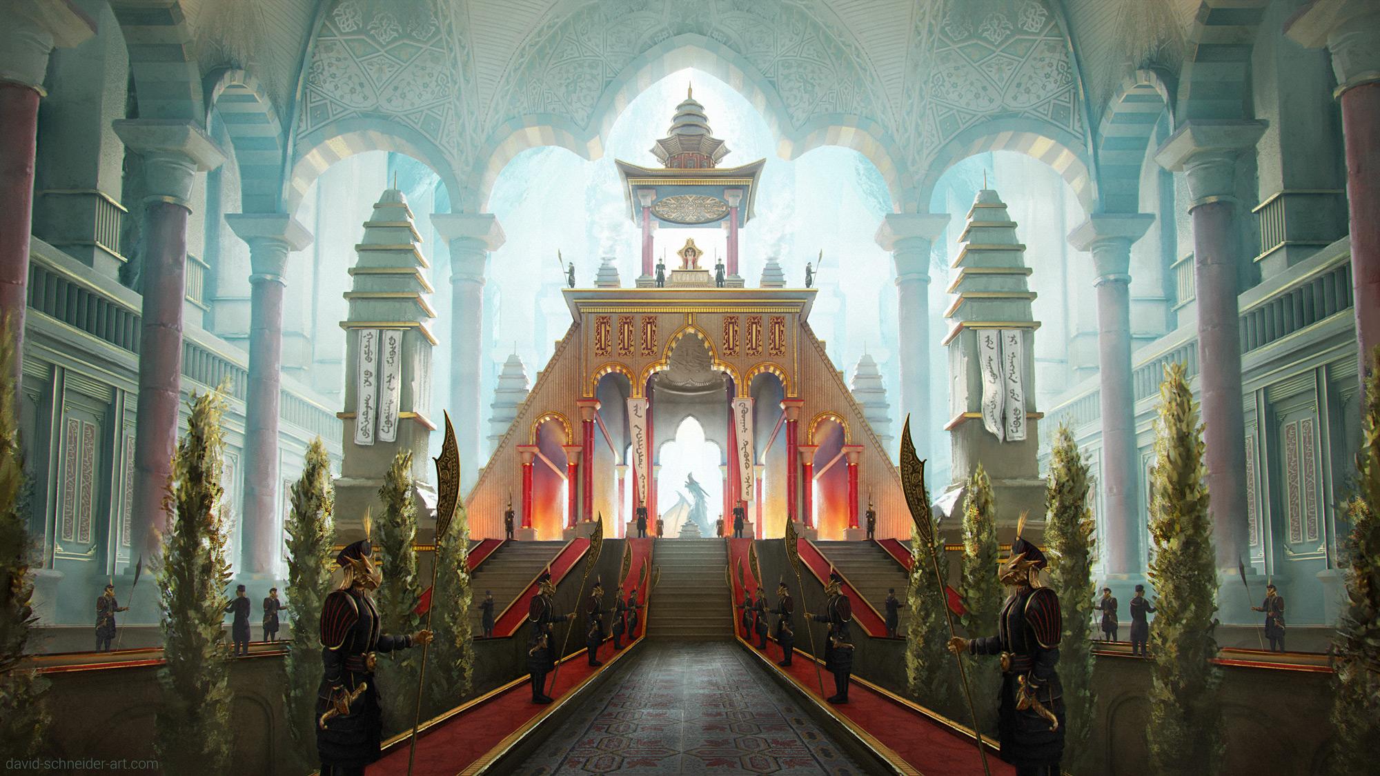Mongolian architecture, fantasy, dragon, emperor, empress, throne room, concept art, illustration, David Schneider