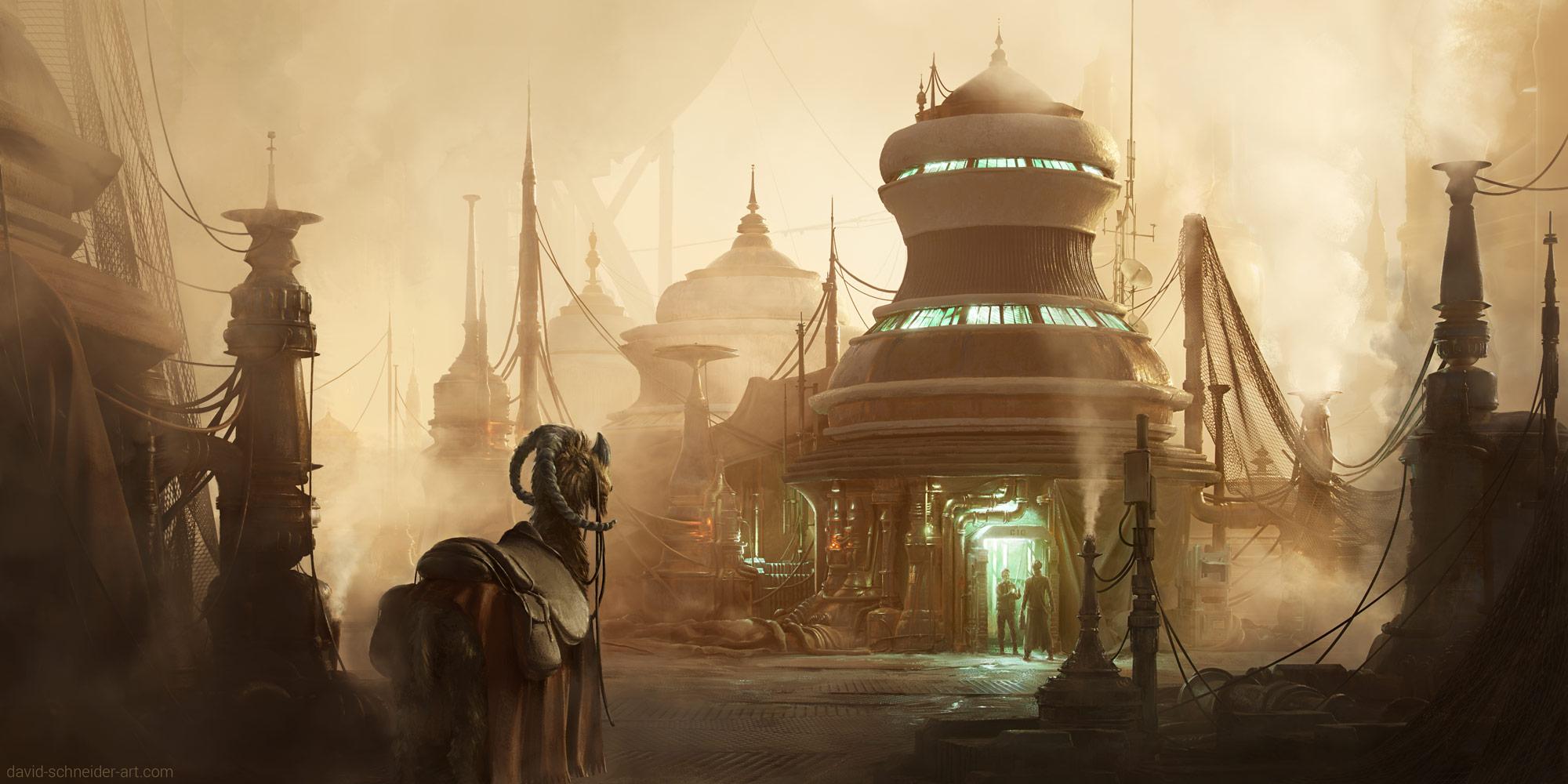 star wars, concept art, scifi, science fiction, fantasy, tatooine, illustration, environment, David Schneider